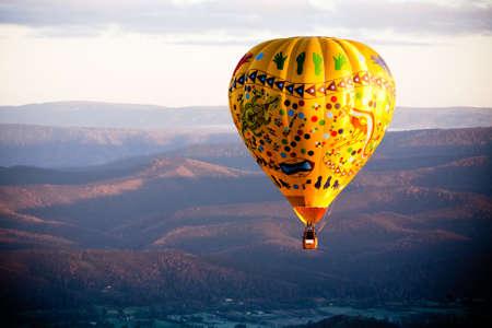A sunrise hot air balloon flight over the Yarra Valley in Victoria, Australia Stock Photo