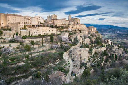 gordes: Sunset on a winters day in Gordes, Provence, France
