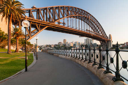 sydney: Sydney Harbour Bridge in a quiet spring sunrise in Sydney, Australia