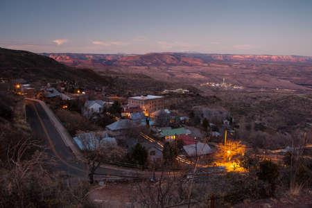cottonwood: Jerome on a winters evening overlooking the town, toward Humphreys Peak and Cottonwood in Arizona, USA Stock Photo
