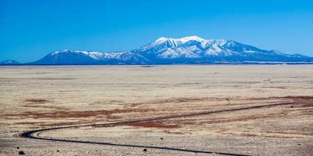 mount humphreys: View from Meteor Crater towards Humphreys Peak, Near Flagstaff, Arizona USA Stock Photo
