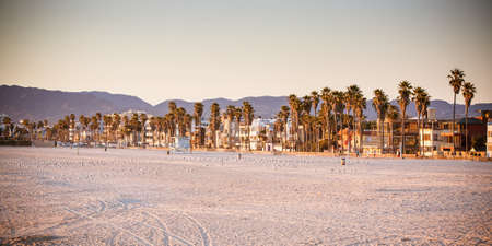 Santa Monica Beach on a warm sunny day in Los Angeles, California, USA