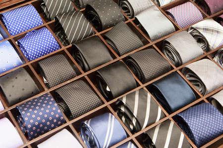 Ties on a shelf display in a boutique store in Melbourne, Australia Standard-Bild