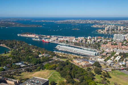 A clear sunny day in Sydney, looking east towards the harbour and ocean. photo