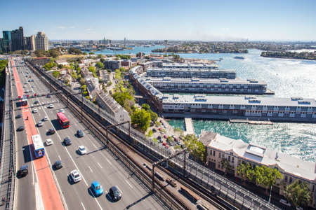 The view over Walsh Bay from the Sydney Harbour Bridge Pylon tower in Sydney, Australia photo