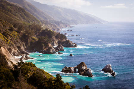 sur: A view out to sea along Big Sur coastline in California, USA
