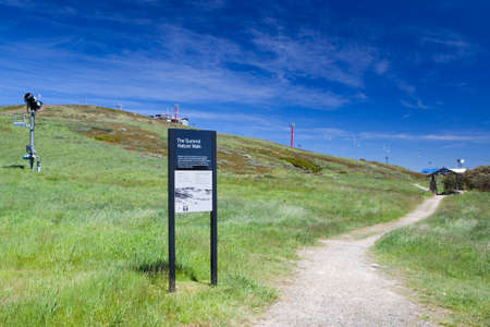 bushwalk: The summit trail at Mt Buller on a hot summers day in Victorias High Country, Australia Stock Photo
