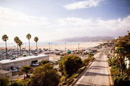 The Pacific Coast Highway as seen from Santa Monica in Los Angeles, California, USA