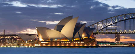 Sydney, Australia - August 19 - Sydney Harbour at dusk on a winter