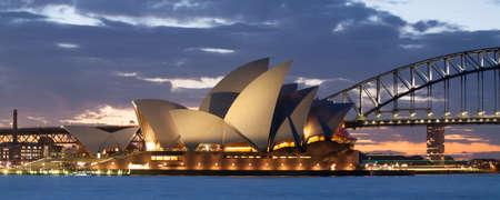 Sydney, Australia - August 19 - Sydney Harbour at dusk on a winter Editorial