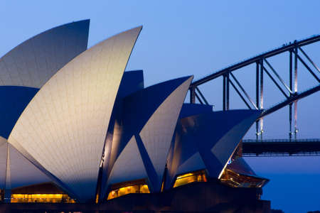 Sydney Opera House at dusk on a spring evening in Sydney, Australia