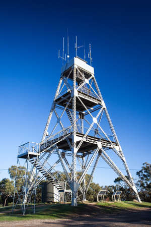 hillclimb: Mt Tarrengower lookout tower early on a winters morning in maldon, Victoria, Australia Stock Photo