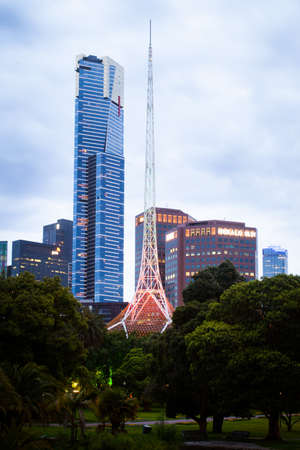 southgate: Melbourne, Australia - December 20 - Melbournes famous Arts Centre and Eureka Tower from Alexandra Gardens at dusk on December 20th 2013. Editorial