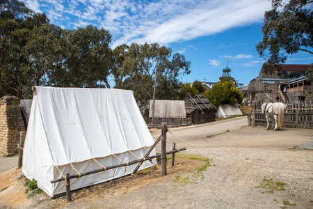 pioneering: SOVEREIGN HILL, AUSTRALIA - OCTOBER 5: Sovereign Hill is an open air museum recreating the atmosphere of a gold rush town in Ballarat, Australia on October 5, 2014 Editorial