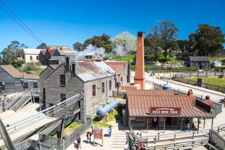 ballarat: SOVEREIGN HILL, AUSTRALIA - OCTOBER 5: Sovereign Hill is an open air museum recreating the atmosphere of a gold rush town in Ballarat, Australia on October 5, 2014 Editorial