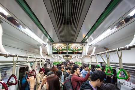 crowded: Crowded Subway Editorial