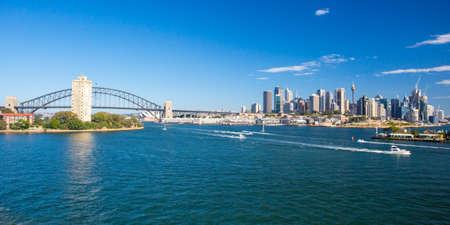 Sydney Skyline van Balls Head Reserve Stockfoto