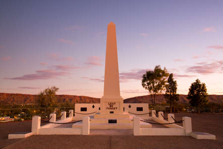 hill: View of Anzac Hill memorial on a clear winters evening in Alice Springs, Northern Territory, Australia