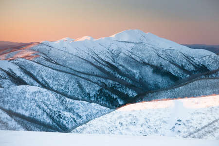 Mt Feathertop at sunset during winter near Mt Hotham in Victoria, Australia