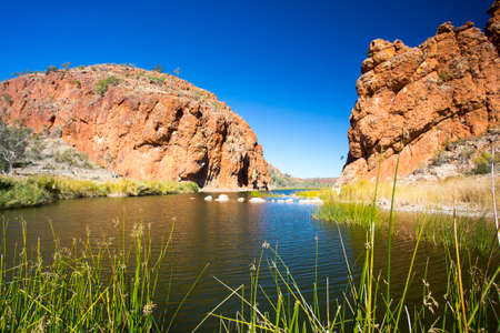 helen: A view of Glen Helen Gorge on a clear winters day in Northern Territory, Australia