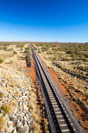 The famous Ghan railway near Alice Springs extends all the way to Darwin in Northern Territory, Australia Stock Photo