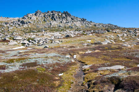 the snowy mountains: A spectacular view across the valley on the Kosciuszko walk near the summit of Thredo in Snowy Mountains, New South Wales, Australia Stock Photo
