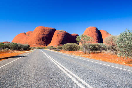 olgas: The Olgas and nearby roadscape in the Northern Territory, Australia Stock Photo