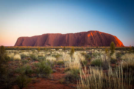 red rock: Majestic Uluru at sunrise on a clear winters morning in the Northern Territory, Australia