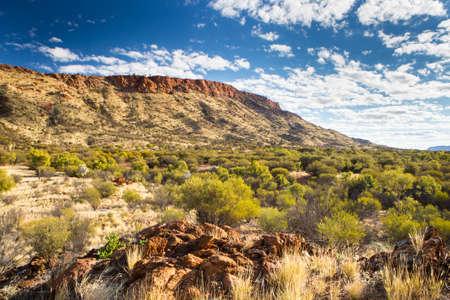 Het uitzicht over bush land richting Mount Gillen de buurt van Alice Springs, Northern Territory, Australië Stockfoto