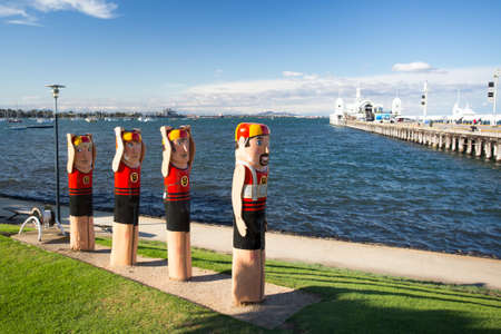 The Geelong waterfront and the Western Beach Sea Bathing Company swimmers in Victoria, Australia 写真素材