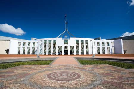 De prachtige architectuur van het Parlement van Australië in Canberra, Australian Capital Territory, Australië