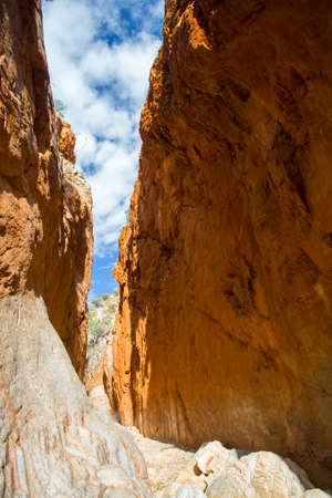 northern light: The famous Standley Chasm as light passes between the rock faces near midday in Northern Territory, Australia Stock Photo