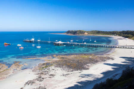 flinders: Flinders back beach and pier on a hot summers evening in the Mornington Peninsula, Victoria, Australia Stock Photo