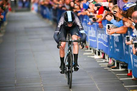 MELBOURNE, AUSTRALIÃ‹ - FEBRUARI 3: Chris Froome sprint naar de finish op de proloog podium op de eerste dag van de Jayco Herald Sun Tour 2016