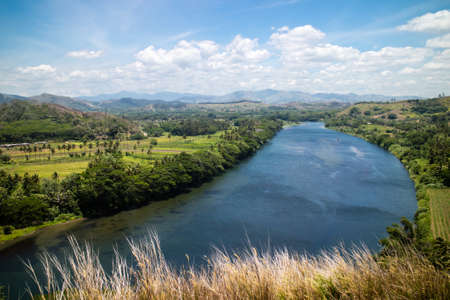 fijian: The view of the Sigatoka River from Tavuni Hill Fort in Fiji.