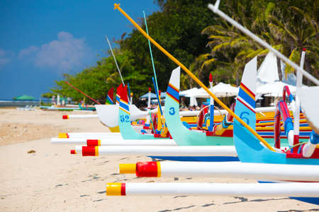 sanur: Traditional Balinese boat on a Sanur beach in Bali, Indonesia