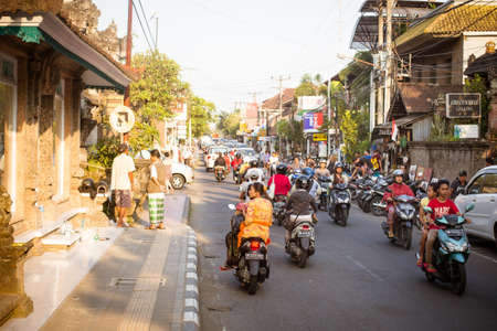ubud: Ubud, Indonesia - September 5: A typical street scene in Ubud, Bali, Indonesia