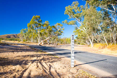 weather gauge: A period of drought has resulted in this dry river creek bed near Ormiston Gorge, Northern Territory, Australia Stock Photo