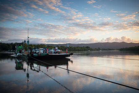 daintree: The Daintree River ferry crossing at sunset near the ferry crossing in far nth Queensland, Australia