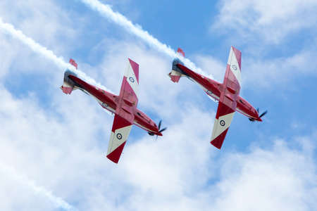 Melbourne, Australia - January 26 - The famous Red Arrows fly to celebrate Australia Day in Melbourne, Victoria, Australia Editorial