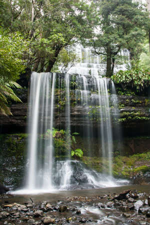 Russell Falls in Mt Field National Park on a cold winters morning in Tasmania, Australia Stock Photo