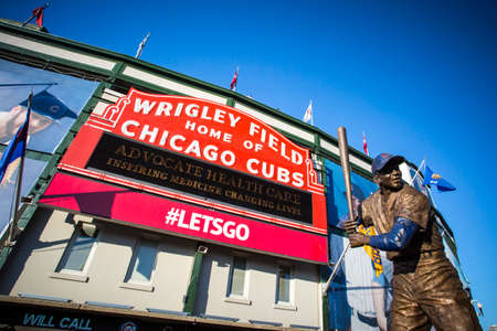 Chicago, USA - August 12, 2015: The famous signage on a warm summers night at Wrigley Field Editorial