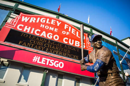Chicago, USA - August 12, 2015: The famous signage on a warm summer's night at Wrigley Field