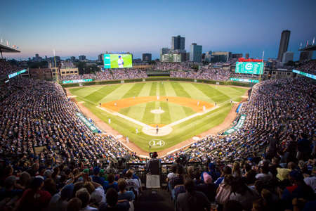 Chicago, USA - August 12, 2015: Chicago Cubs play Milwaukee Brewers on a warm summers night at Wrigley Field