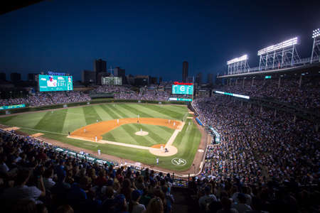 competitive: Chicago, USA - August 12, 2015: Chicago Cubs play Milwaukee Brewers on a warm summers night at Wrigley Field