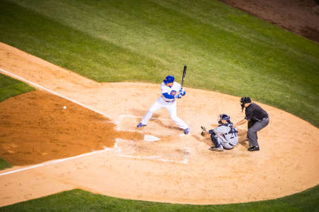 Milwaukee: Chicago, USA - August 12, 2015: Chicago Cubs play Milwaukee Brewers on a warm summers night at Wrigley Field