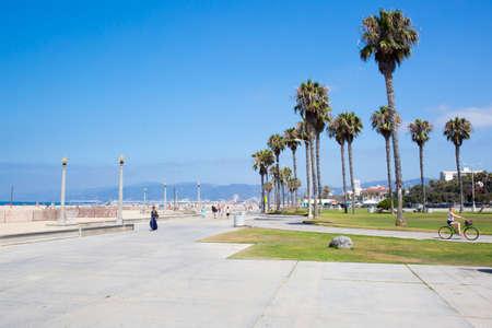 monica: Los Angeles, USA - 9th August 2015: Santa Monica Beach on a warm sunny summers day