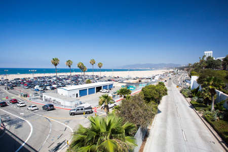 shorelines: The Pacific Coast Highway as seen from Santa Monica in Los Angeles, California, USA