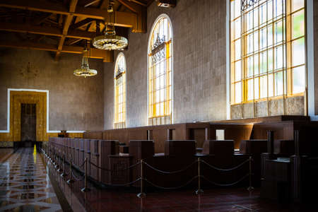 restored: Los Angeles, USA - 14 July: The restored art deco interior of Union Station Editorial