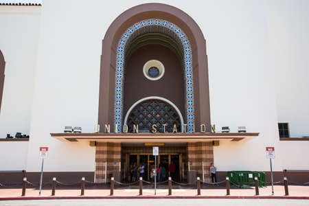 restored: Los Angeles, USA - 14 July: The restored art deco exterior of Union Station